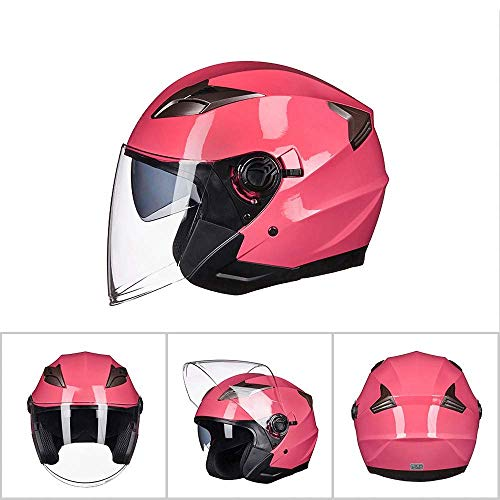 KDJJH Offenes Helm, Doppelobjektiv Halber Helm Retro Motorradhelm Adjustable Rollerhelm Offenes Gesicht Helme Unisex Fahrrad Moto Helm,Pink_Medium