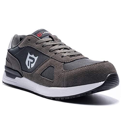[LARNMERN] 安全靴 スエード 作業靴 メンズ 静電 耐油 SRC耐滑 鋼鉄製先芯 おしゃれな安全靴 通気性 耐摩耗性 セーフティー 作業 通動 ワーク 安全スニーカー(ダークグレー,25.0cm)