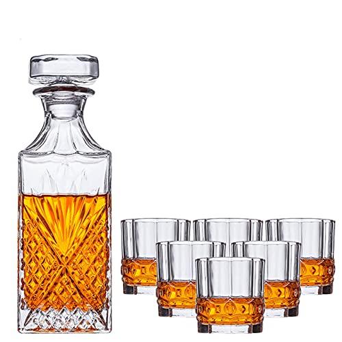 Juego de decantadores de vidrio de 7 piezas con tapa (1decanter + 6cups) Set de regalo de vino de cristal transparente adecuado para whisky vino ron brandy (decanter 800ml taza 10oz)