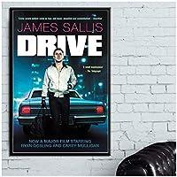Suuyar ドライブクラシック映画ライアンゴズリング映画のポスターとリビングルームのホームベッドルームのキャンバスに壁のアートプリントを印刷-24X32インチX1フレームレス