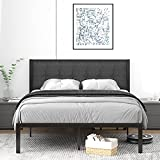 IMUsee Queen Size Bed Frame with Upholstered Button Tufted Square Headboard, Heavy Duty Bed Frame with 11' Underbed Storage Space, Easy Assembly, Noise Free, No Box Spring Needed