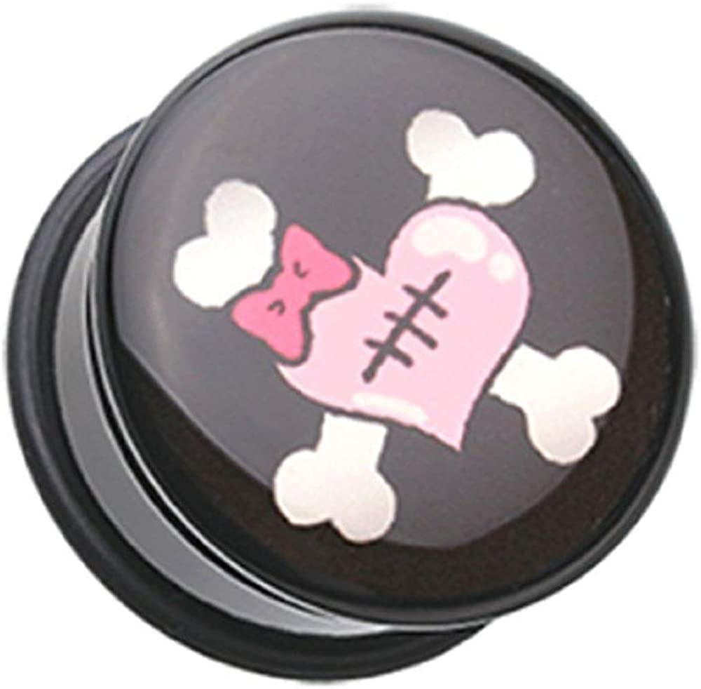 Covet Jewelry Emo Heart Crossbone Single Flared Ear Gauge Plug