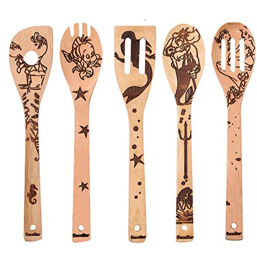 5 PCS Wooden Spoons for Cooking, DaceStar Cartoon Pattern Burned Wooden Kitchen Utensils Set, Non-Stick Organic Bamboo Utensil Set, Great Gift for Kitchen Lovers & Foodies
