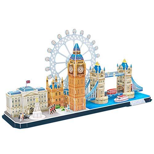 World Brands London Puzzle für Erwachsene und Kinder, Modellbau, 3D-Puzzle, lustige Geschenke, Kultur, Reisen aus dem Haus (CubicFun MC253H)