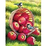 Fresh Fruits - Kit de pintura de diamante 5D por números, color melocotón para adultos, taladro redondo completo, diamantes de imitación, arte para decoración de pared del hogar, 40 x 50 cm