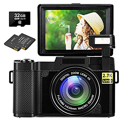 Digital Camera Vlogging Camera 30MP Full HD 2.7K Digital Camera with Retractable Flash Light Camera 3 Inch Flip Screen Vlog Camera for YouTube with Two Batteries by SEREE