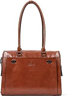 Womens Briefcase Oil Wax Genuine Leather 15.6 Inch Laptop Business Vintage Ladies Shoulder Bag