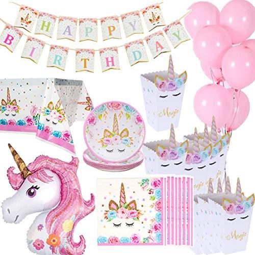 Cebelle Einhorn-Geburtstagsdekorationen, Papiergeschirr, 16 Popcorn-Boxen, 16 Teller, 16 Servietten, 1 Tischdecke, 1 Happy Birthday-Banner, 1 riesiges Einhorn, 10 rosa Luftballons