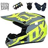Casco Motocross Niños, YEDIA-01 Casco Moto Jóvenes Adultos Set con Gafas/Guantes/Máscaras/Red Bungy, Casco de Protección Integral para Motocicleta Todoterreno MTB Enduro BMX - con Diseño FOX,XL