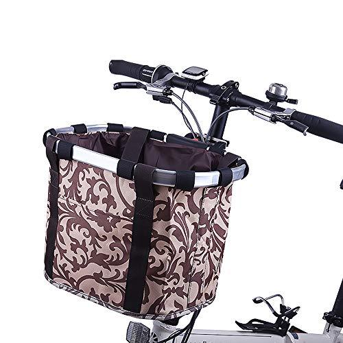 EEKUY Folding Fahrradkorb, Leinwand wasserdichter Fahrrad-Frontkorb Skateboard Elektro-Auto-Korb zum Tragen geeignet Haustiere und Gemüse