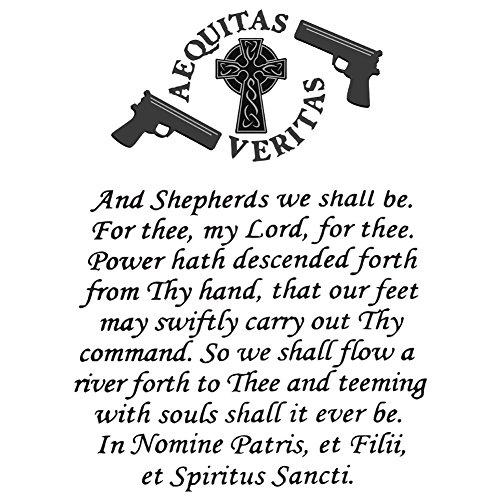 Vinyl Sticker - The Family Prayer Aequitas Veritas Saints Gun Celtic Cross