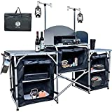 UILB 2021 Upgrade Multifunctional Camping Table with 3 Storage Organizer, Aluminum Windscreen Folding Cooking Table Easy-to-Clean Outdoor Cooking Folding Table
