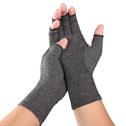2 Pair Compression Arthritis Gloves - Guaranteed Highest Copper Content. Best Copper Infused Fit Glove for Women and Men, Carpal Tunnel, Computer Typing, and Everyday Support for Hands (Gray, S)