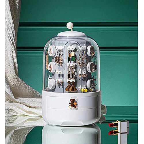 Soporte de exhibición de joyas y pendientes, caja de joyería con espejo de alta capacidad, 360 ° Rotación de alta gama de gama de alta gama Pendientes de lujo Collar Net de gran capacidad Caja de alma