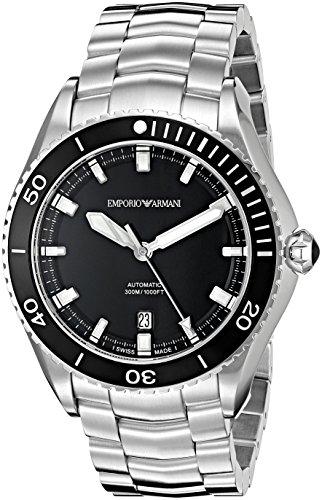 Emporio Armani Swiss Made ARS9002 Reloj de pulsera analógico automático suizo plateado
