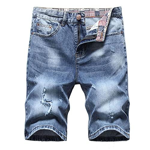 Pantalones Vaqueros Cortos Retro para Hombre con Agujeros, Moda de Verano, Bolsillos Sueltos para la Calle, Pantalones Suaves Informales, Pantalones
