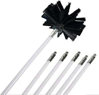 Ochine Nylon Chimney Brush and Rods Kit Electrical Rotary Drill Drive Sweeping Cleaning Tool with Long Flexible Rods