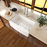White Farmhouse Sink - Sarlai 33 Inch Kitchen Sink White Arch Edge Apron Front Ceramic Porcelain...