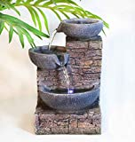 Ferrisland 3-Tier Flowing Bowls Waterfall Tabletop Fountain with LED Light