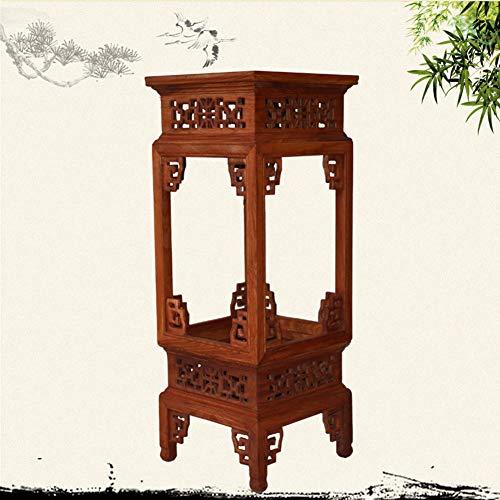 WEHOLY Massivholz Beistelltisch Geschnitzt Birnenholz Quadrat Runde Blume Stehen Chinesischen Stil Handgeschnitzten Vintage Racks
