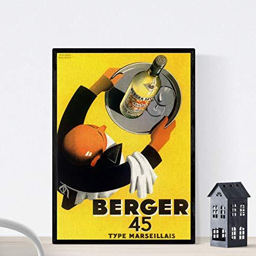 Vintage poster Nacnic. Advertentie vintage Franse wijn 45 Berger, 1935 formaat A4
