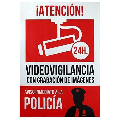 Señal alarma conectada aviso policia PVC 21x30cm Rojo