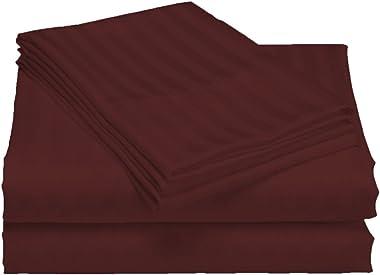 Scala Bedding 800 Thread Count Egyptian Cotton Luxurious Striped Duvet Cover Cal King White