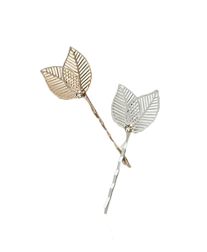 8 Pieces Metal Hollow Leaf Rhinestone Bobby Pin Hairpin Hair Clips Hair Accessories