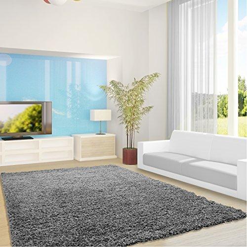 Shaggy Hochflor Teppich Feli Comfort Dezent - 12 Größen und Farben - Öko-Tex 100 (120 x 170 cm, Grau)