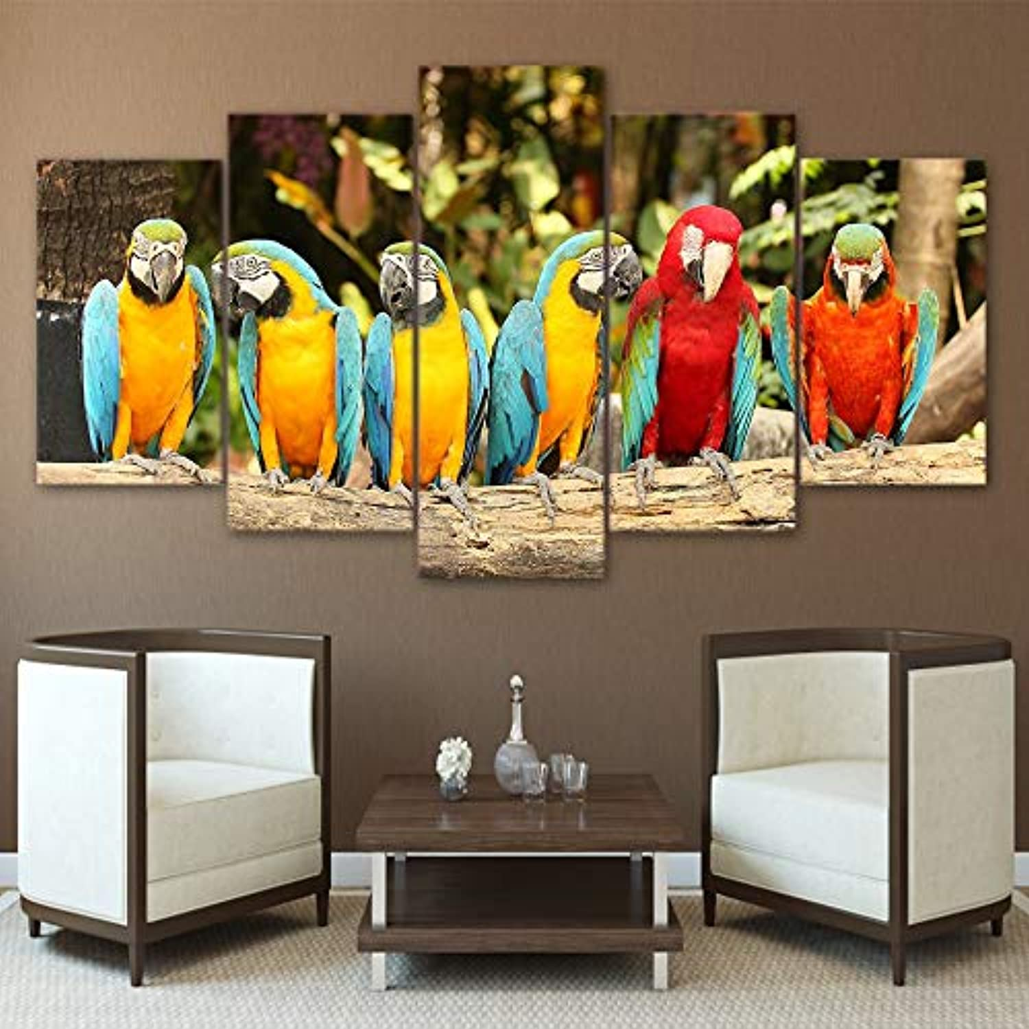 HD Printed Canvas Poster Frame Home Decor 5 Piece Pcs colorful Parreds Animal Art Painting Modular Living Room Wall Pictures