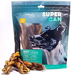 Natural Odor Free Bully Sticks, High Protein – Long lasting – Fully Digestible Dog Treats, Free Range Grass Fed Premium Beef Sticks for Happy & Healthy Dogs (6-inch Braided Bully Sticks: 10 count)