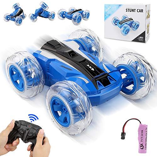 Sylanda Ferngesteuertes Auto für Kinder ab 6, RC Auto mit Fernbedienung, 360° Wiederaufladbar RC Stunt Auto Rennauto mit Musik und LED-Licht