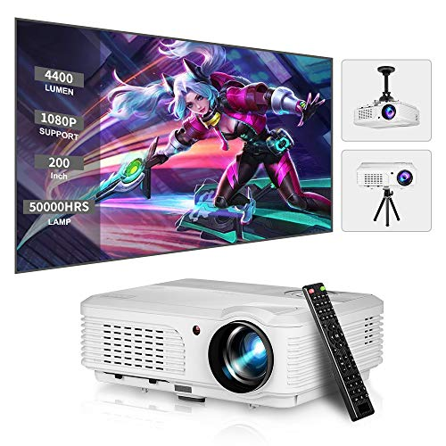 LED HD Movie Gaming Projector Support 1080P Rear Ceiling Projection LCD WXGA Video Projectors with Zoom HDMI USB AV Audio Out for iOS Android Phone DVD TV Laptop PS4 Netflix Home Theater Outdoor
