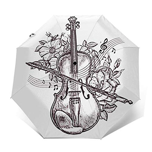 Regenschirm Taschenschirm Kompakter Falt-Regenschirm, Winddichter, Auf-Zu-Automatik, Verstärktes Dach, Ergonomischer Griff, Schirm-Tasche, Orchester Geige Geige Blume