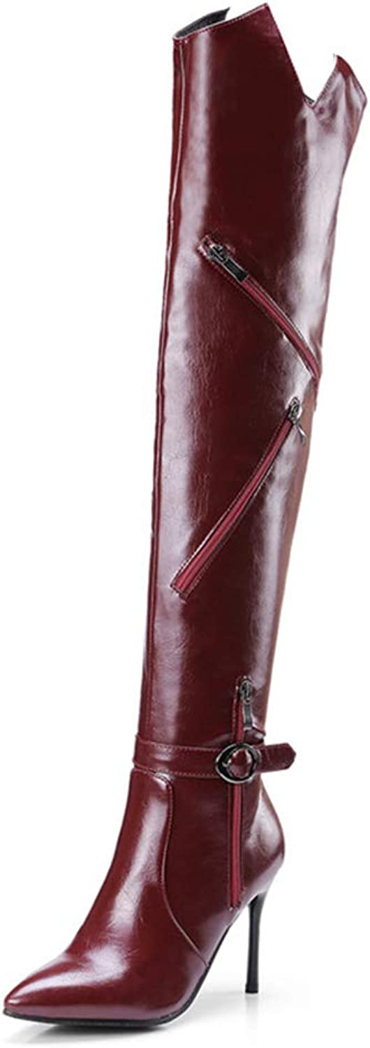 Women Winter PU Leather Zips Over Knee Boots Lady Fashion Dress shoes Woman 9.5CM High Heels shoes