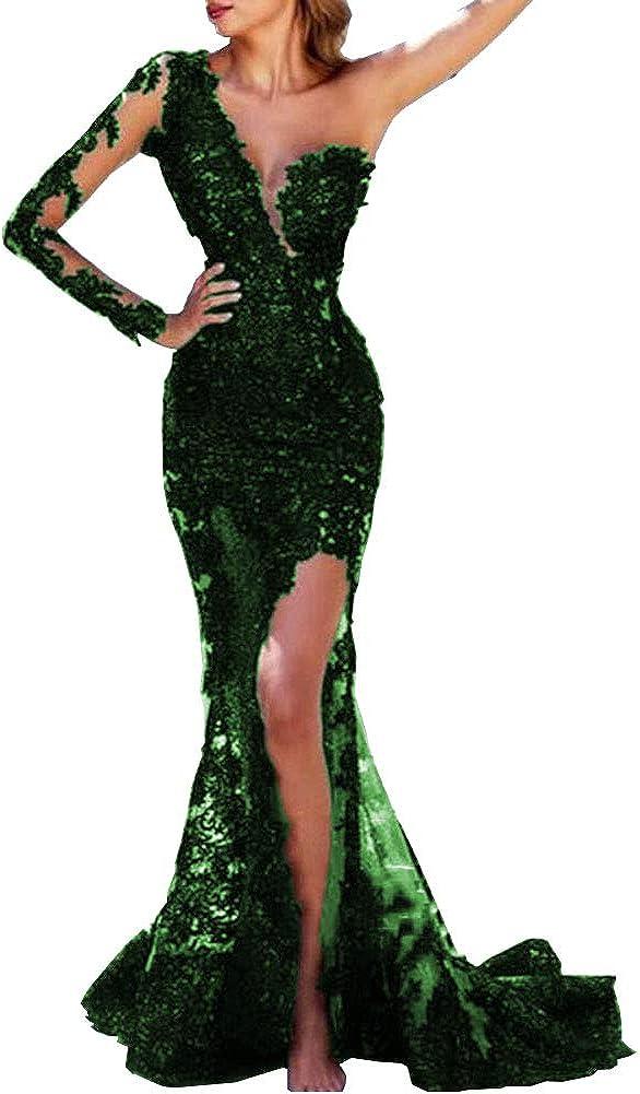 SDRESS Women's Appliques Long Sleeve V-Neck Side Slit Mermaid Formal Prom Dress
