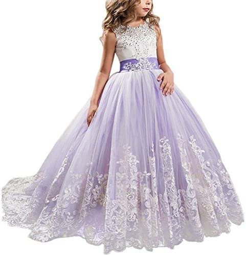 Little Big Girls Flower Lace Princess Long Pageant Dresses Prom Tulle Ball Gown Wedding Bridesmaid product image