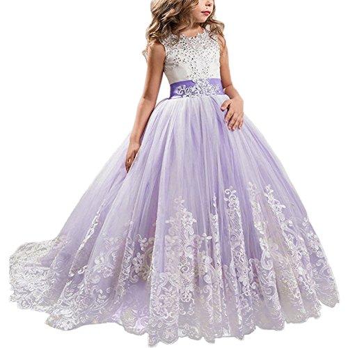 Little Big Girls' Flower Lace Princess Long Pageant Dresses Prom...