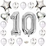 Kiwochy 10 cumpleaños decoración plata globo 10 cumpleaños fiesta globo número 10 aluminio Globo Feliz Cumpleaños guirnalda Globos 12 papel picado Globos 18 corazón Mylar Globos para chicas Niños