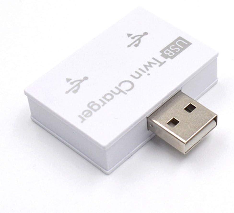 Yooha 2-Port USB 2.0 Hub, Mini USB Hub Portable Data Hub, Practical USB Twin Charger for Phone, Tablet, Computer(White)