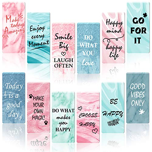 36 Pieces Motivational Magnet Bookmarker Inspirational Magnetic Bookmarks Marble Design Page Clips Bookmarks for Students Teachers School Home Office Supplies