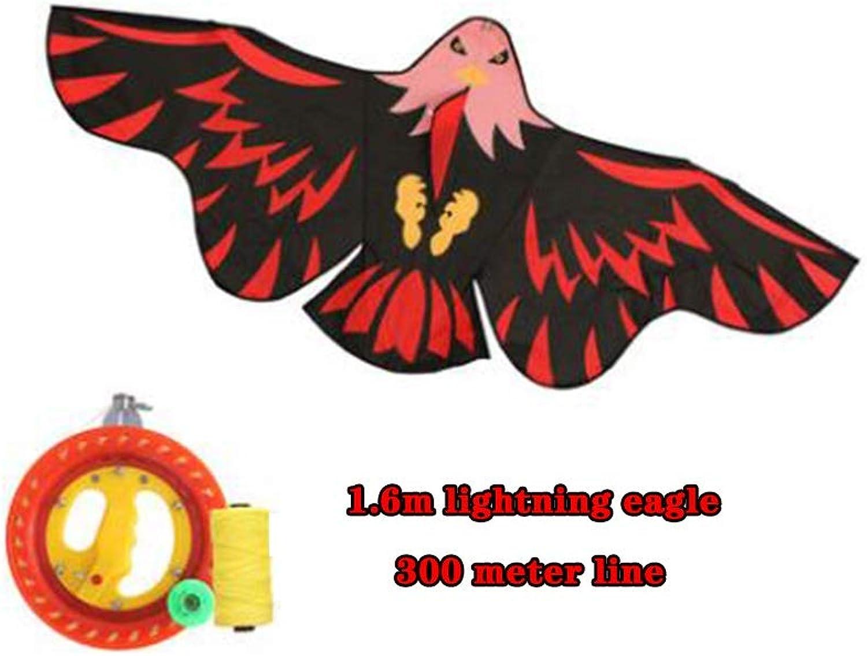 TYD.L Drachen J-105 Faltbar Einfach Zu Tragen Kind Erwachsener Anfnger Riesig Adler Drachen Verwendet Für Im Freien Park Strand Geschenk 1,6  0,7M (Farbe   Schwarz, gre   Line length300M)