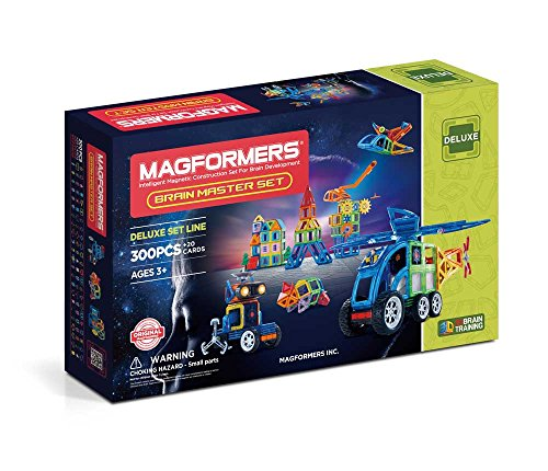 Magformers Brain Master 300 Pieces Rainbow Colors, Educational Magnetic Geometric Shapes Tiles Building STEM Toy Set Ages 3+