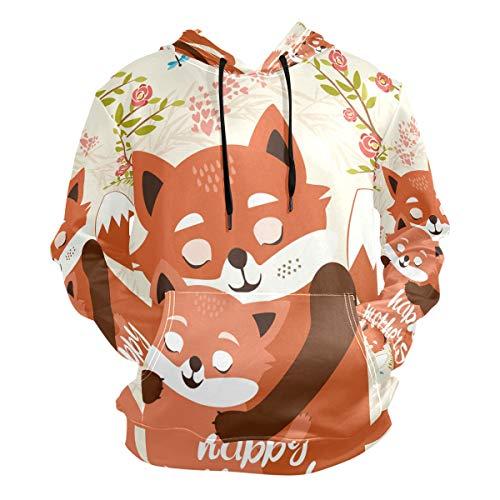 XiangHeFu Heren Hoodies Sweatshirt Leuke Vos Moeder en Kind Knuffels Lange Mouw Truien