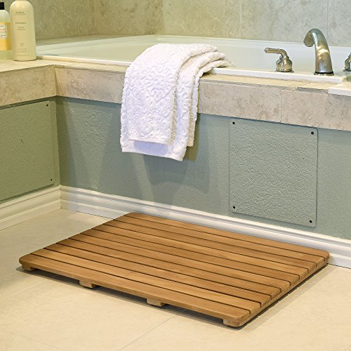 Asta Solid Teak Shower/Bath/Door Mat with Rounded Corner, Spa Teak Collection (30x20)