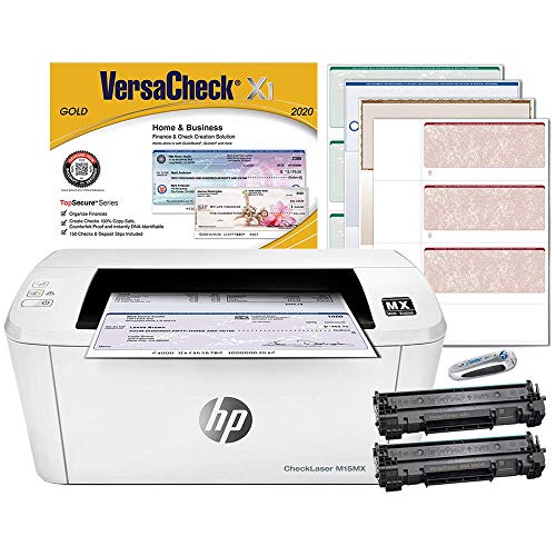 VersaCheck HP Laserjet M15 MX MICR Check Printer and VersaCheck Gold Check Printing Software Bundle, White (M15MX)