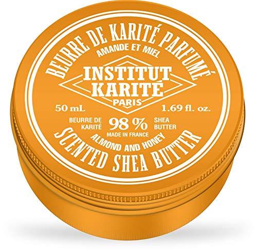 Institut Karité Paris – 98% Pur Beurre de Karité parfum Amande et Miel 50ml – Produit naturel pour cheveux, corps et visage – Pure Shea Butter for body, face and hair