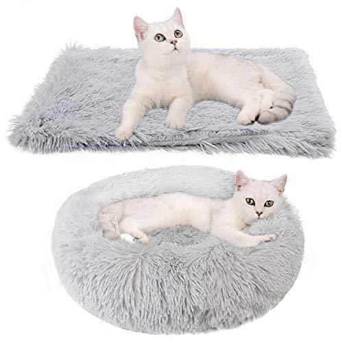 Legendog Katzenbett Runden - Flauschig Katzenkissen Plüsch Hundebett 2 Stücke Weich Warm Haustierbett + Haustierdecke Katzen schlafplatz für Katzen und Kleine Hunde 50cm