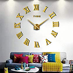 Mila 3D Frameless Wall Clock Large Stickers DIY Wall Decoration for Living Room Bedroom (Gold)