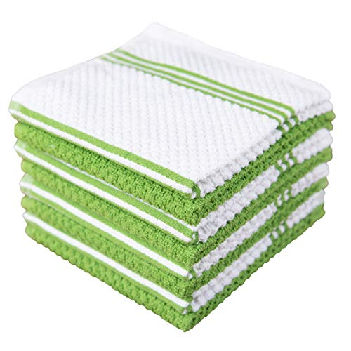 Sticky Toffee Cotton Terry Kitchen Dishcloth, 8 Pack, 12 in x 12 in, Green Stripe